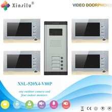 XSL-520*4-V80P 1V4 Manufacturer 2016 New arrival 7 inch video door phone with taking photoes and saving video