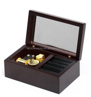 Small happy christmas black wooden musical box for gift