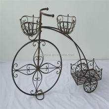 Wire Bicycle Flower Stand With Wheels For Home Decoration