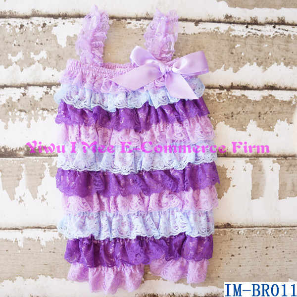 China Wholesale Baby Toddler Clothing Infant Girls Ruffle Petti Lace Rompers IM-BR011