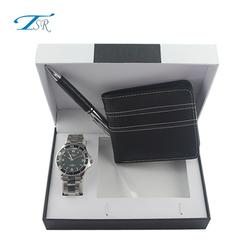 2017 fashion watch gift set with men watch and pen, keychain