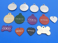 custom laser engraving dog id tags, anodized aluminum pet collar tags wholesale