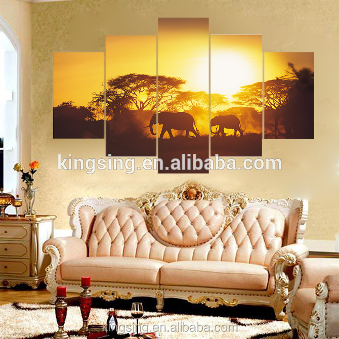 Newest design african animal artwork painting modern abstract elephant and sunset oil painting on canvas wholesale