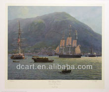 Oil Painting Of Sailing Ships and Mountain
