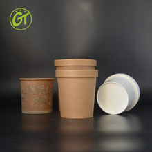 China Supplier Disposable Paper Soup Cup with lid and Hot Kraft Soup Cup