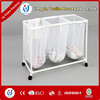 PVC mesh plastic laundry basket with wheels