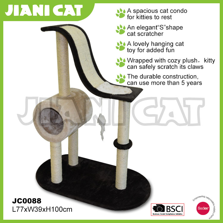 wholesale,multi function,wooden ,a tunnel,pet accessory of cat scratcher