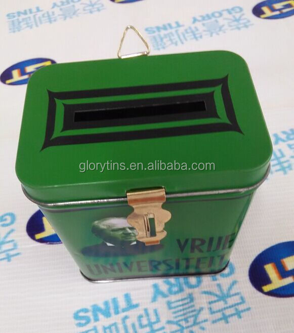 small rectangular shape tin with hole for coin packing, money tin can