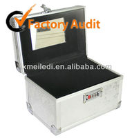 beatiful silver Aluminum High Quality jewelry box beautiful key case cosmetic case makeup case