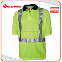 High Visibility 100 polyester reflective tape polo t shirt wholesale