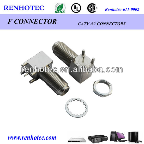 DIP 90 degree f connector F female connector pcb mount