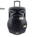 Portable trolley wireless speaker with wheels, bluetooth, USB/SD/FM system