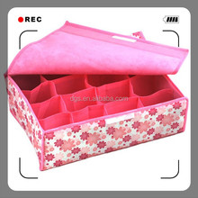 Fabric Lined Pants Storage Boxes Fabric Covered Multi-functional Foldable Socks/stockings Storage Box 16 Squares 31*31*11cm