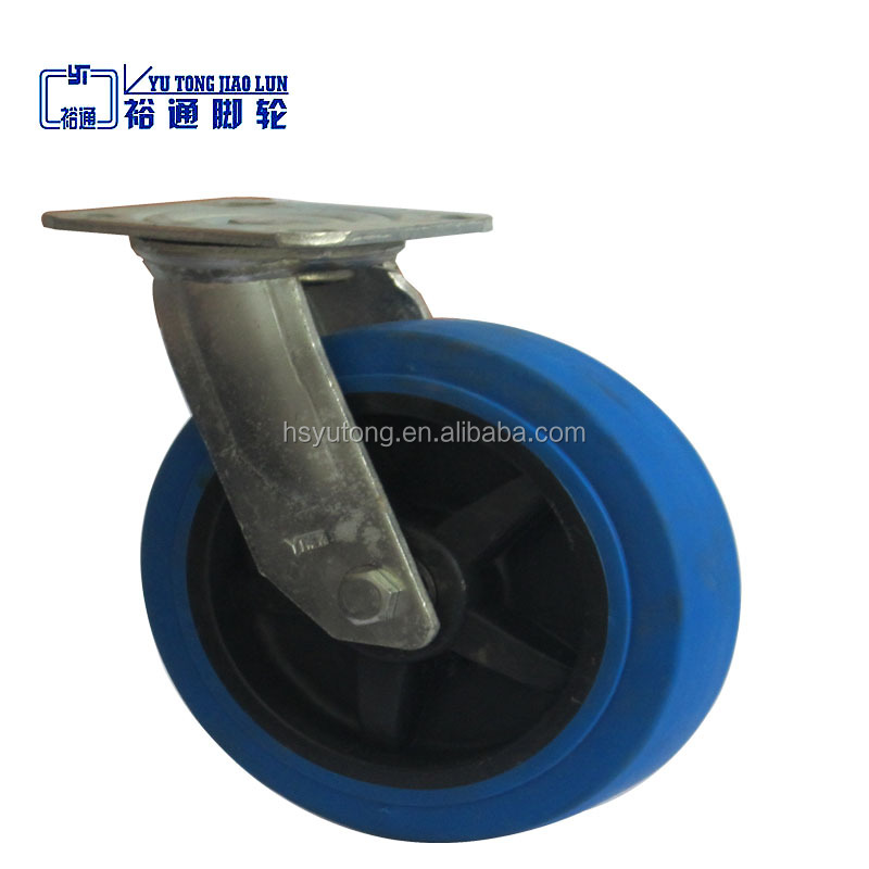 8 inches Blue elastic rubber swivel casters, hand pallet truck caster wheel