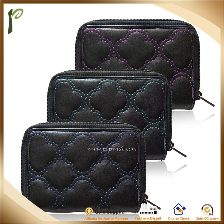 Popwide 2015 Hot Black Fashion Bi-fold PU Leather Ladies Purses