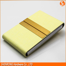 "Foldable two sides PU leather business name card holder 4"" vertical for credit card and name card"