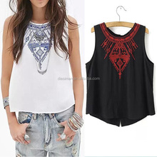 O-Neck Sleeveless Designs Ladies Tops Women Embroidered Tops for Women