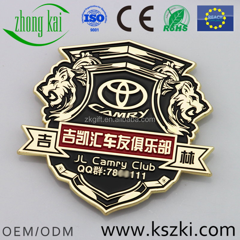 Custom factory gold plated metal car logo badge crafts