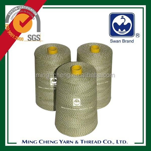 Polyester sewing thread for bag closing