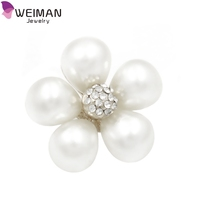 Hot Sale Custom Clothes Button with Pearl Rhinestones Flower Pins Button