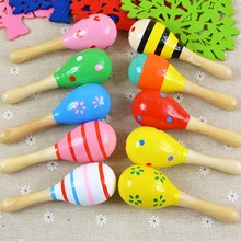 Wooden cartoon sand ball wood sand hammer auditory training bell infant exercise hand instruments musical toys hot sale