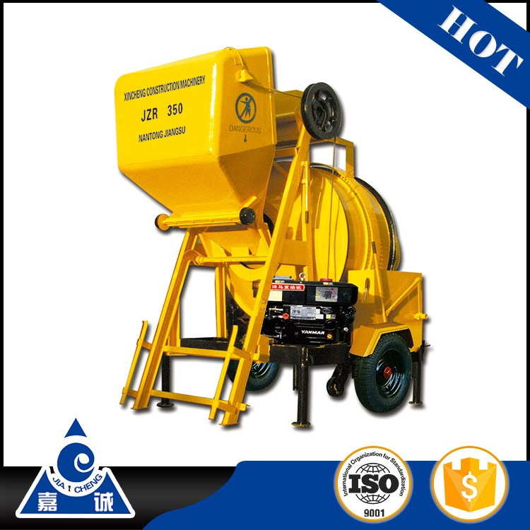 small JZR350 used diesel engine portable 350 liter 1 bag concrete mixer machine with lift for sale kenya