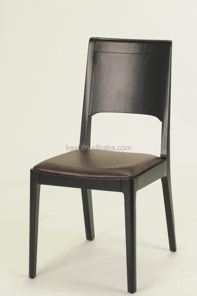 Black color leather material seat simple design wooden for Colorful leather dining chairs
