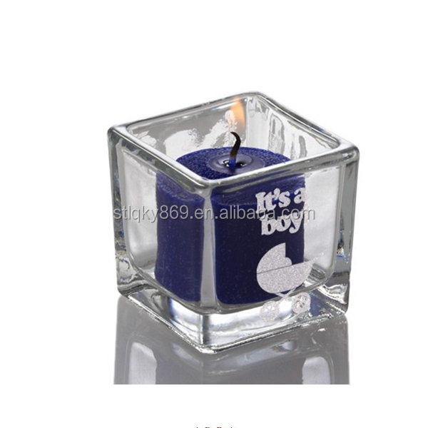 Eastland Engraved Baby Shower Square Votive Holders Glass Candle Holder Lead Free bulk glass votive candle holders