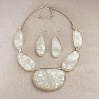 Wholesale clear stones w/frosted layer center jewelry set