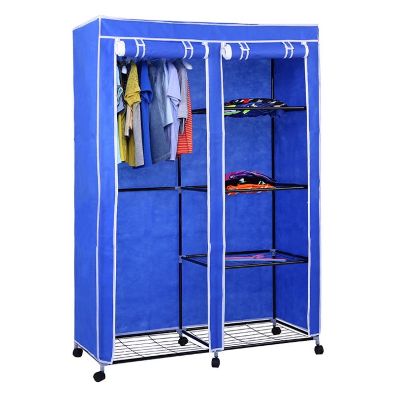 RT-125 Cheap design portable cloth foldable rolling canvas fabric bedroom wardrobe