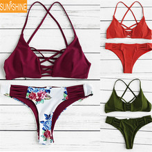 High Cut Bandage Criss Cross Top Swimsuit Bathing Suit Thong Swimwear