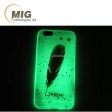 Luminous tpu mobile phone case colorful feather design cell phone cover and it also is cell phone case that glow in the dark