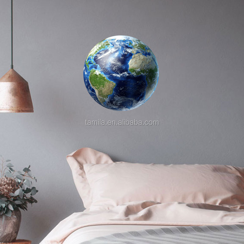 30cm blue earth Cartoon DIY 3d Wall Stickers for kids rooms bedroom Luminous wall sticker