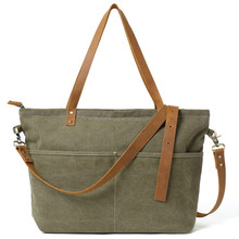 Waxed Canvas with Leather Women Tote Bag Shoulder Bag Diaper Bag Handbag 14022