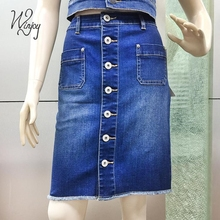 New design ladies fashion casual elastic denim knee length sexy half girl jean skirt