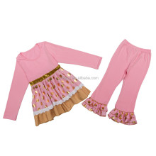 Factory wholesale kids girls fall outfits super quality pajamas clothing sets