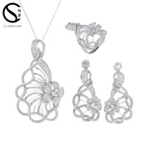 Solid silver wedding set beautiful flower shape bridal jewelry set for wedding anniversary