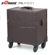 Professional rolling beauty hairdresser trolley makeup case with lights with mirror