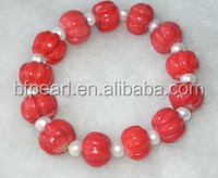 "wholesale 7"" cheap pearl & 7-8mm red pumpkin shaped natural coral bracelet"