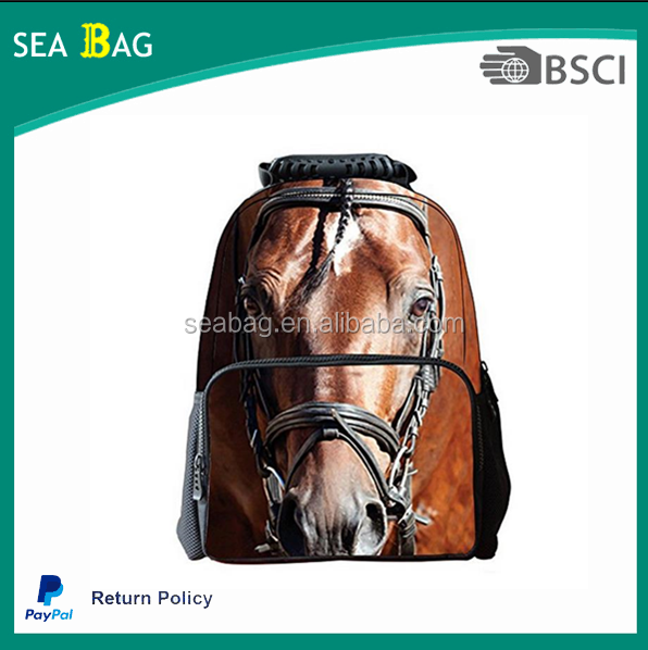 new arrival school bag design animal printing 3d awesome bag make in canvas & PU