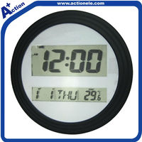 big digital round wall clock with alarm and calendar