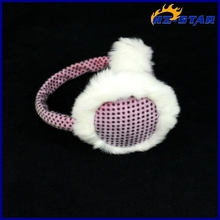 HZE-13123004 2015 alibaba express warm sleeping pink dots soft feeling baby plush earmuffs