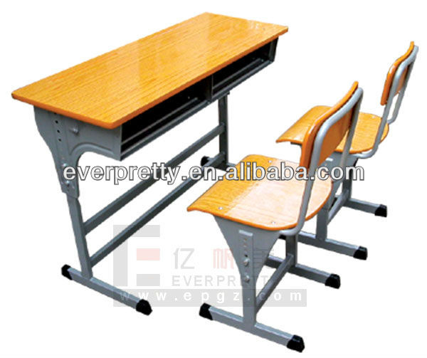 Top-seller!!! MDF top adjustable school desk and chair / height adjustable double student desk metal leg