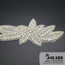 Beautiful beaded rhinestone and pearl applique trimming