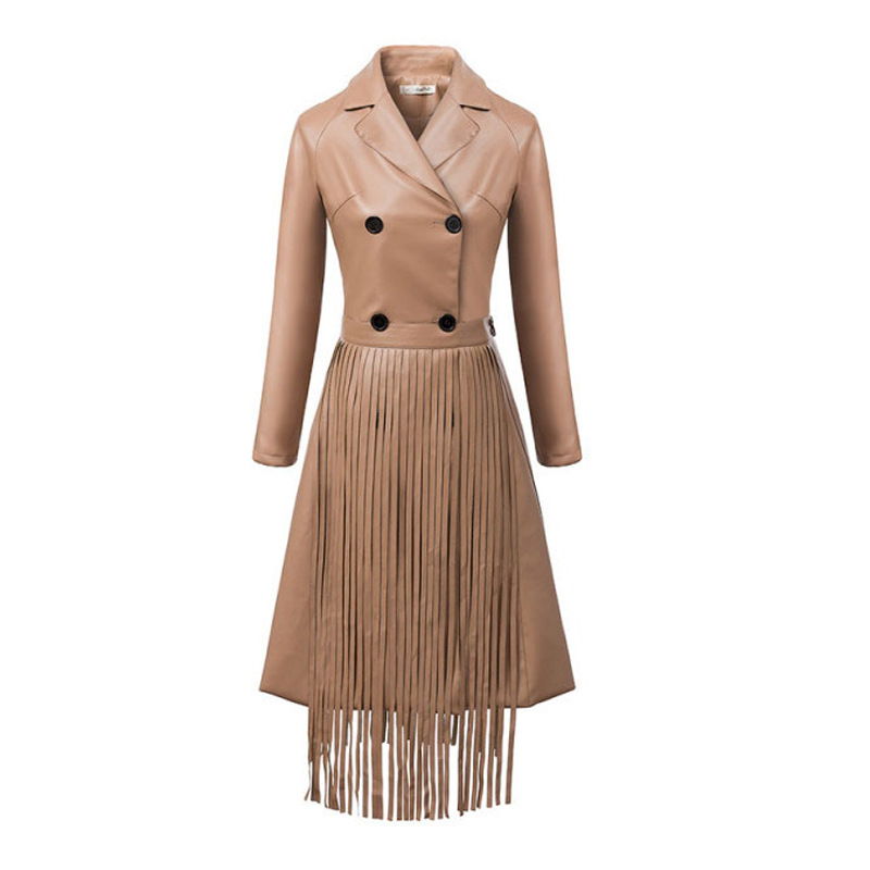 C58099S European fashion design high quality fashion tassel women leather long overcoats
