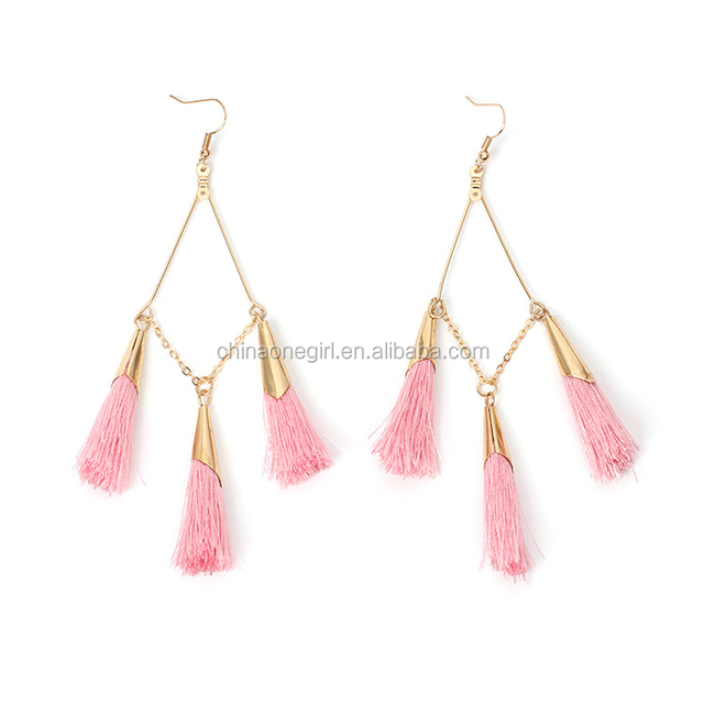 Gold Color Handmade Long Tassel Earrings Fashion Wedding Party Jewelry Free Shipping