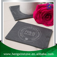 Wholesale Handmade 12*9*0.5cm Rectangle Black Promotion Laser Engraved Tea & Coffee Requirements Slate Custom Drink Coaster