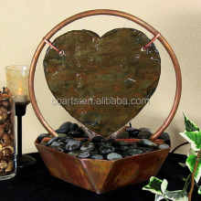 Copper and Slate Heart Tabletop Fountain