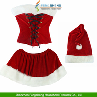 Xmas Miss Santa Clause Costume Outfit Christmas Cosplay Dress