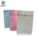 Aluminum foil mylar zipper top flat bottom pouch for coffee packaging plain color bags with valve
